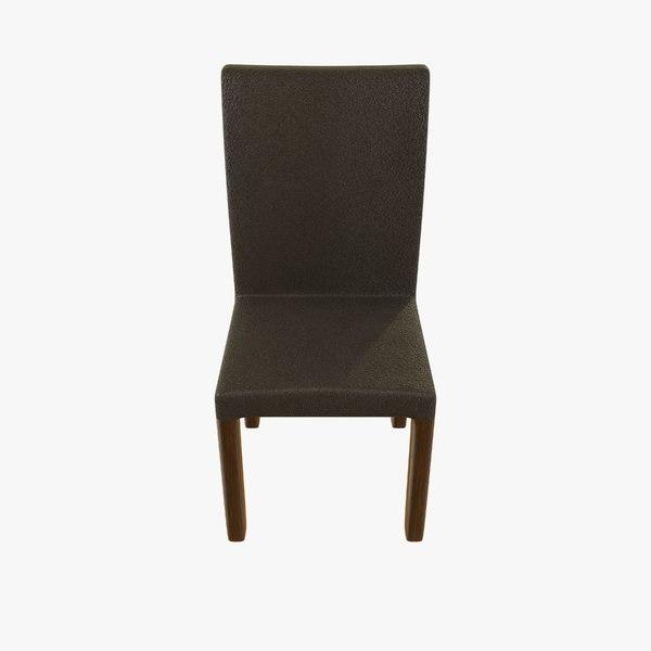 3D model gray leather chair ebony