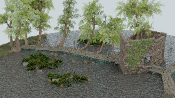 3D scene river