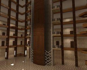 hotel lobby decor 3D model