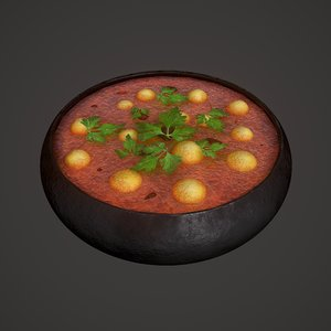 3D medieval tavern soup foods