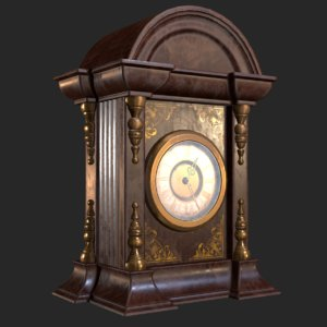 3D old antique table clock model