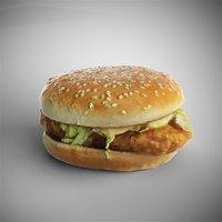 scanned mcchicken burger 3D