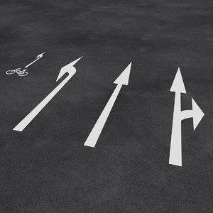 european street arrows 3D model