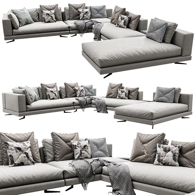 3D white sofa