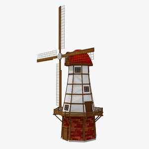 3D model cartoon medieval windmill