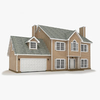 3d model two-story cottage