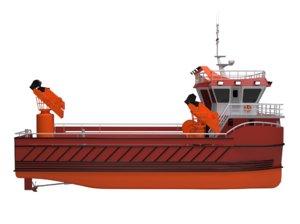 3D service boat water model