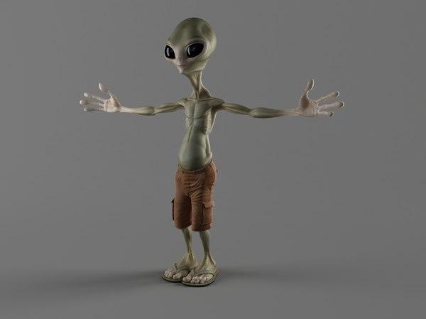 3D alien character paul model