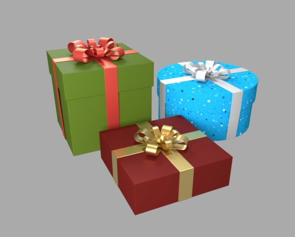 christmas presents ribbon model