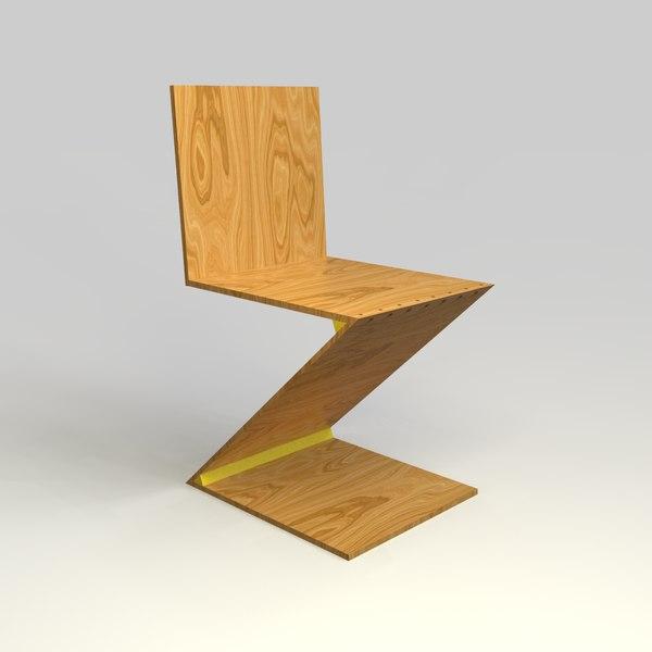 zigzag chair gerrit rietveld 3D