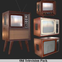 3D old television pack tv