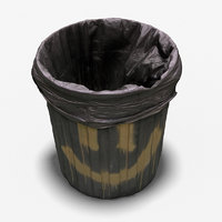 3D model rubbish bin