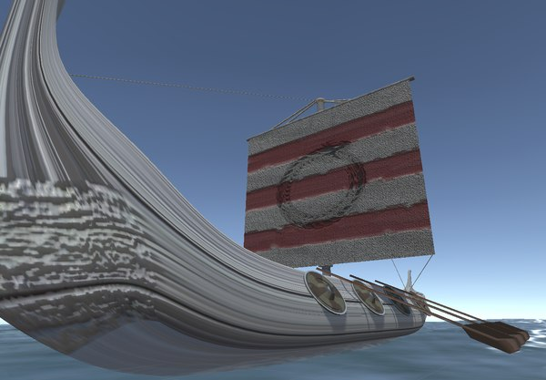 viking long ship 3D model