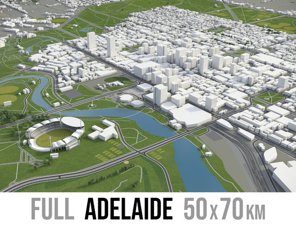 3D model city adelaide surrounding -