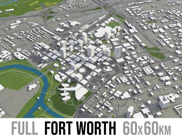 city fort worth surrounding 3D model