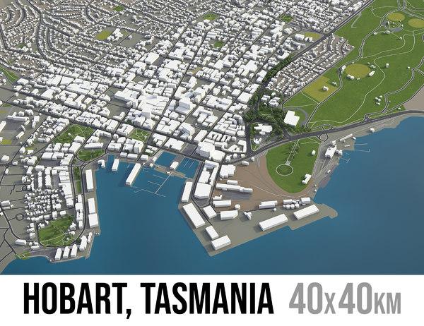 3D city hobart surrounding -