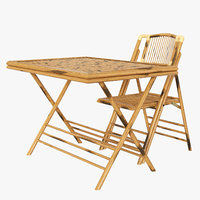 bamboo folding table chair 3D model