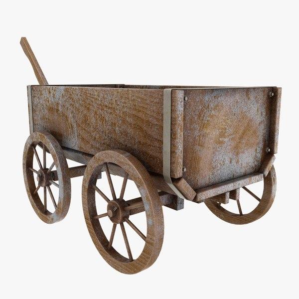 3D wooden cart old