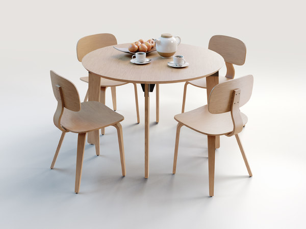 3D model wooden dining set chair table