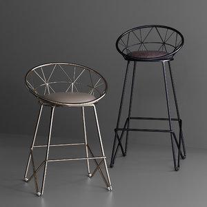 3D chairs windsor bar stool