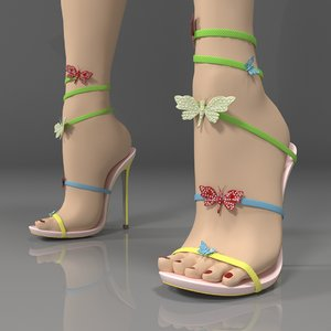 3D rene caovilla sandals butterfly
