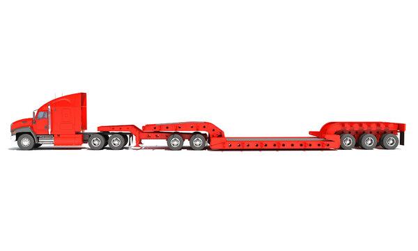 semi truck lowboy trailer 3D model