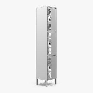3-door steel locker interior doors 3D model