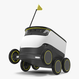 3D self-driving robot delivery rigged model