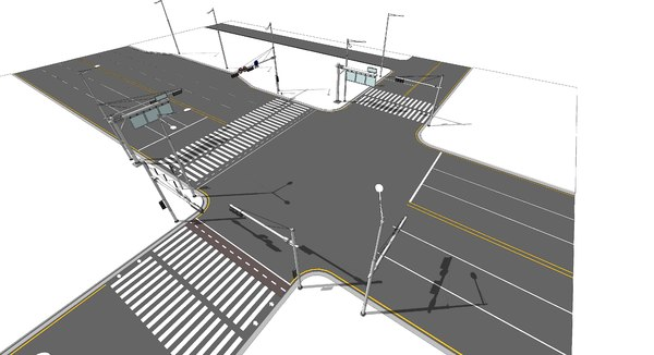 street road traffic 3D model