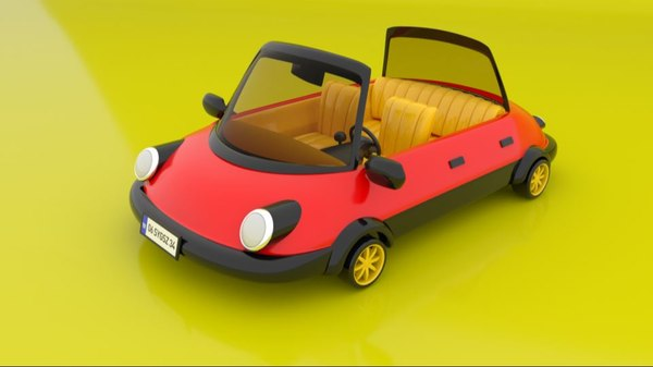 rigged simple cartoon toy car 3D model