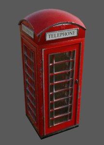 british k6 telephone box model