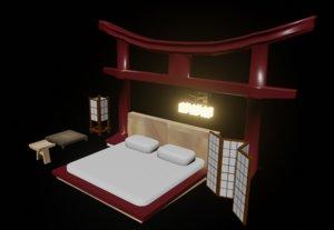 3D japanese bedroom