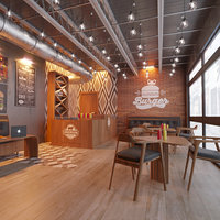Coffee Cafeteria, Burger interior design (Style American)