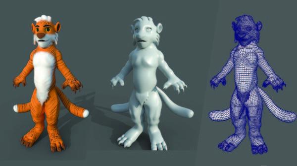 3D tiger character