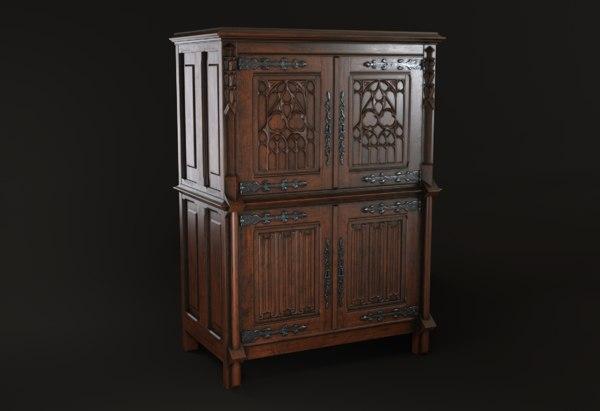 antique gothic cabinet 3D