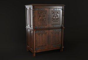 antique gothic cabinet 3D