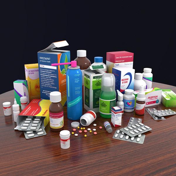 medicine bottle box pack 3D