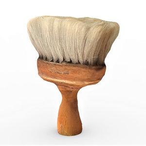 3D wooden barber brush model