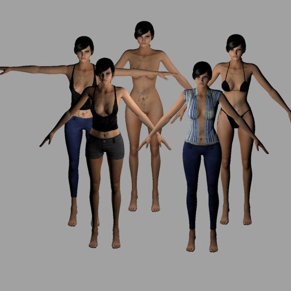 3D realistic female nude woman