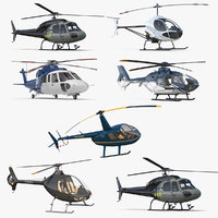 3D model rigged private helicopters 5