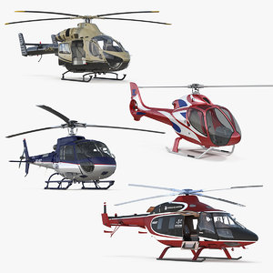rigged private helicopters 4 3D model