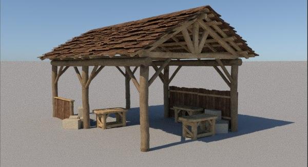 3D wood cabin model
