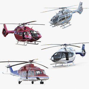 rigged private helicopters 2 3D model