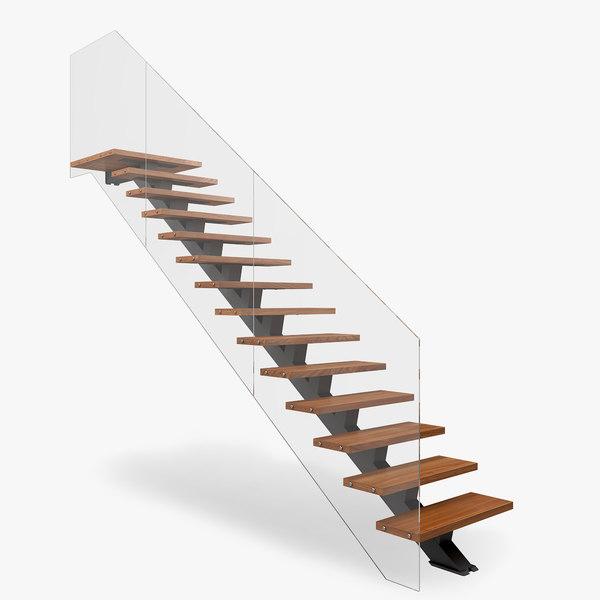 3D modern floating stair model