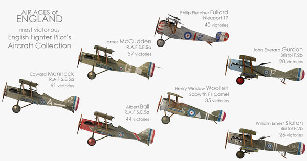 3D ww1 aces england fighter aircraft