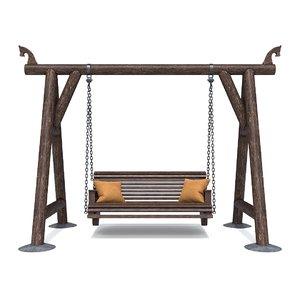 3D wood wooden swing model