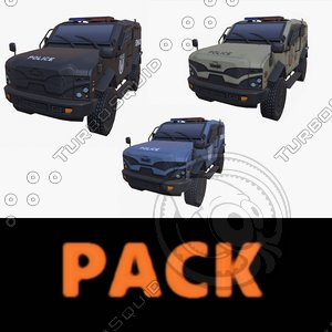 car armored swat pack 3D model