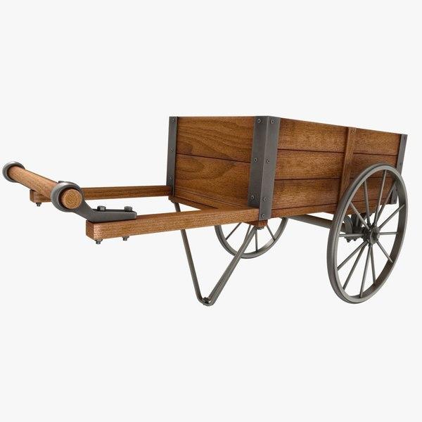 3D wooden vendor cart model