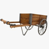 3D wooden vendor cart model