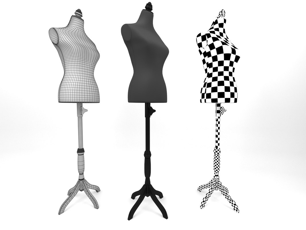 mannequin torso wooden stand 3D model